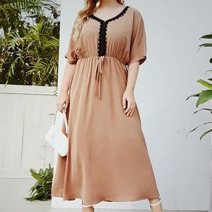 Shein Lace Tie Front Batwing Sleeve Maxi Dress